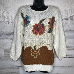 Vintage embroidered floral chunky knit sweater